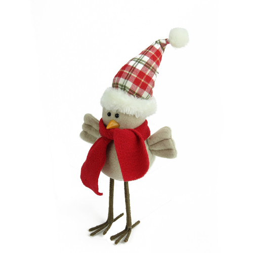 """10"""" Beige Standing Bird with Red Scarf and Plaid Hat Christmas Figure - IMAGE 1"""