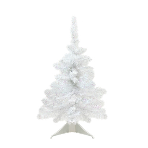"""18"""" x 13"""" White Glimmer Iridescent Spruce Artificial Christmas Tree - Unlit - IMAGE 1"""