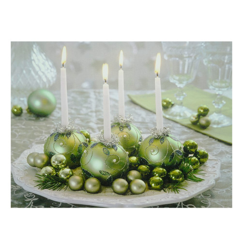 """LED Lighted Sparkling Ornament Centerpiece Christmas Canvas Wall Art 11.75"""" x 15.75"""" - IMAGE 1"""