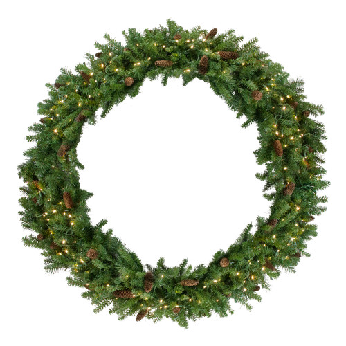 Pre-Lit Dakota Red Pine Commercial Artificial Christmas Wreath - 60-Inch, Warm White LED Lights - IMAGE 1