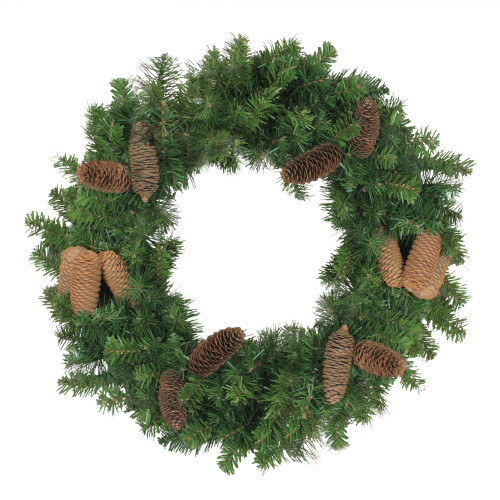 Green and Brown Pine Artificial Christmas Wreath - 24-Inch, Unlit - IMAGE 1
