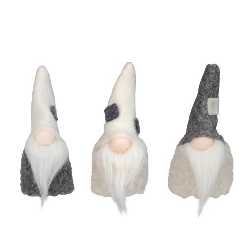 """Set of 3 Gray and Cream Christmas Gnomes 3.75"""" - IMAGE 1"""
