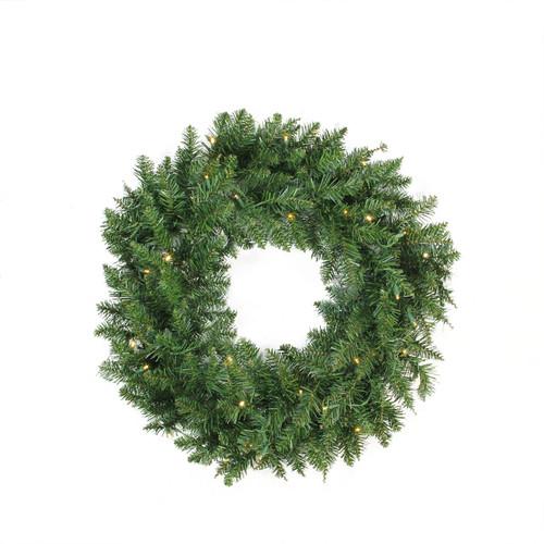 Pre-Lit Buffalo Fir Artificial Christmas Wreath - 24-Inch, Warm White LED Lights - IMAGE 1
