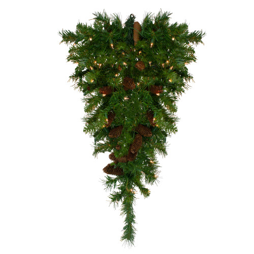 "30"" Pre-Lit Dakota Red Pine Artificial Christmas Teardrop Swag - Clear Dura Lights - IMAGE 1"