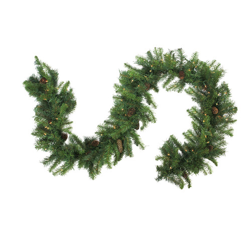 "9' x 16"" Pre-Lit Dakota Red Pine Artificial Christmas Garland - Warm White LED Lights - IMAGE 1"