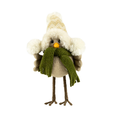"""22"""" Beige and Green Standing Bird with Hat and Scarf Christmas Figure - IMAGE 1"""