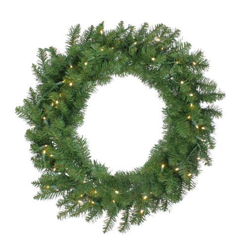 Pre-Lit Buffalo Fir Artificial Christmas Wreath - 30-Inch, Warm White LED Lights - IMAGE 1