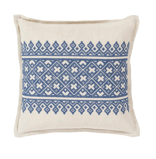 """20""""Indigo Blue and Canvas Traditional Woven Decorative Throw Pillow –Down Filler - IMAGE 1"""