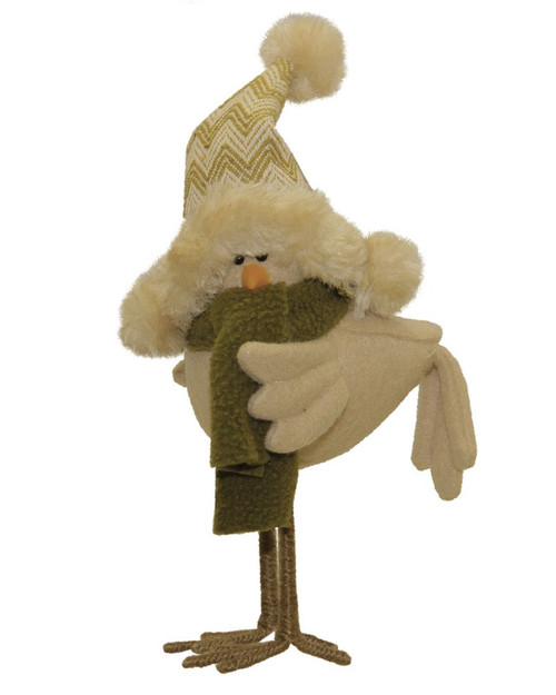 """8.25"""" Beige Standing Bird with Hat Christmas Decoration - IMAGE 1"""
