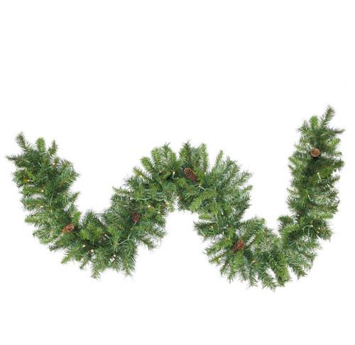 "50' x 12"" Pre-Lit Dakota Pine Artificial Christmas Garland - Warm White LED Lights - IMAGE 1"