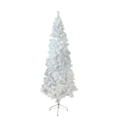 6.5' Pre-Lit Pencil White Winston Pine Artificial Christmas Tree - Multi LED Lights - IMAGE 1