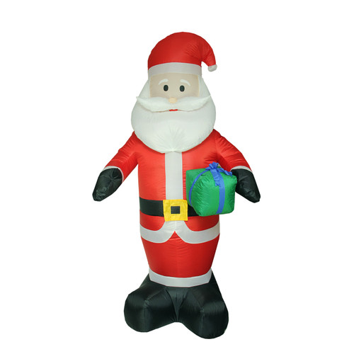 8' Red Pre-Lit Inflatable Santa Claus with Gift Christmas Outdoor Decor - IMAGE 1