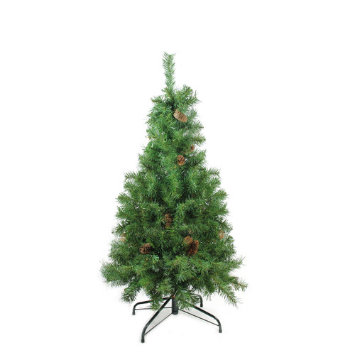 "4' x 30"" Dakota Red Pine Full Artificial Christmas Tree with Pine Cones - Unlit - IMAGE 1"