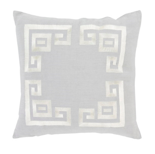 """18"""" Cool Gray and White Contemporary Decorative Throw Pillow - Polyester Filler - IMAGE 1"""