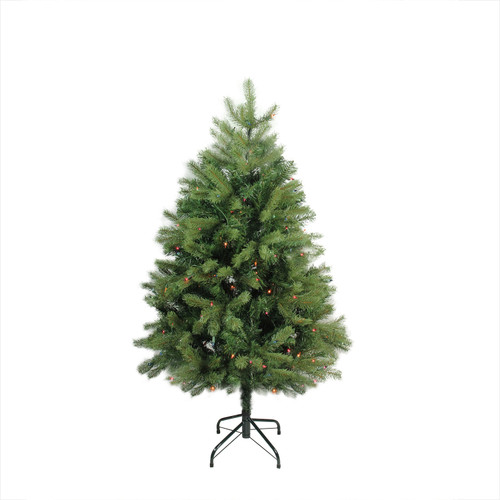 4' Pre-Lit Full Noble Fir Artificial Christmas Tree - Multi-Color Lights - IMAGE 1