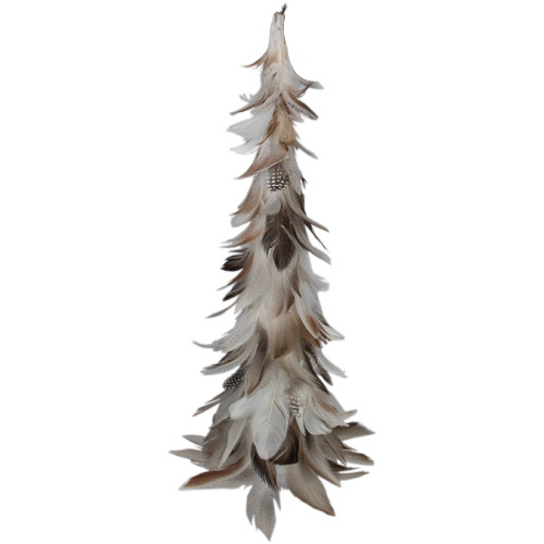 """19"""" Brown and Gray Glittered Feather Cone Tree Christmas Decor - IMAGE 1"""