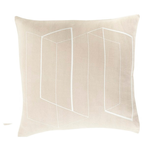 """22"""" Beige and White Geometric Patterned Square Throw Pillow - Poly Filled - IMAGE 1"""