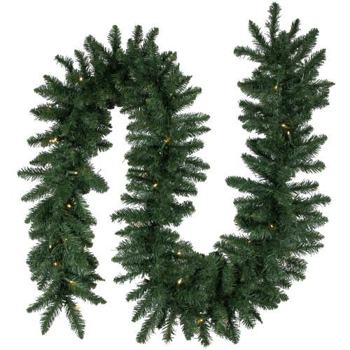 "9' x 12"" Pre-Lit Buffalo Fir Artificial Christmas Garland - Warm White LED Lights - IMAGE 1"