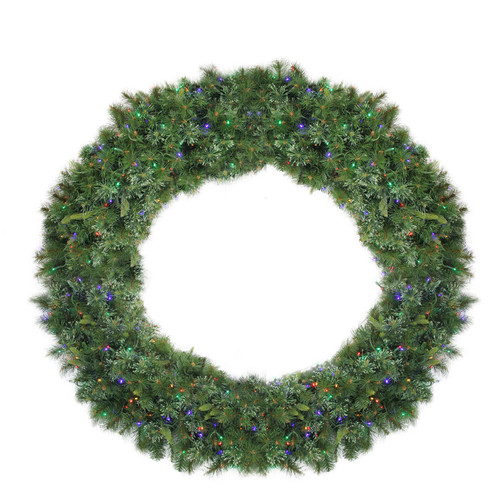 Pre-Lit Ashcroft Cashmere Pine Commercial Artificial Christmas Wreath - 72-Inch, Multi LED Lights - IMAGE 1