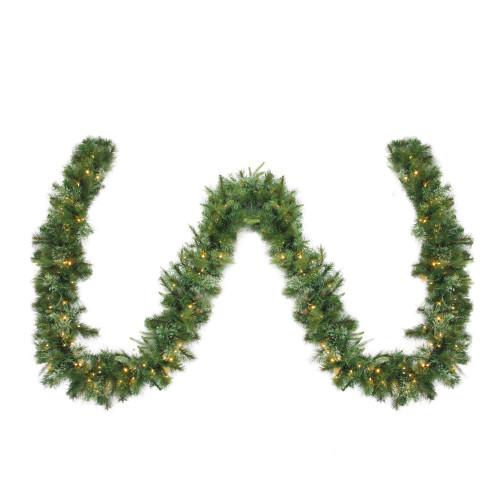 "50' x 14"" Pre-Lit Ashcroft Cashmere Pine Artificial Christmas Garland- Warm White LED Lights - IMAGE 1"