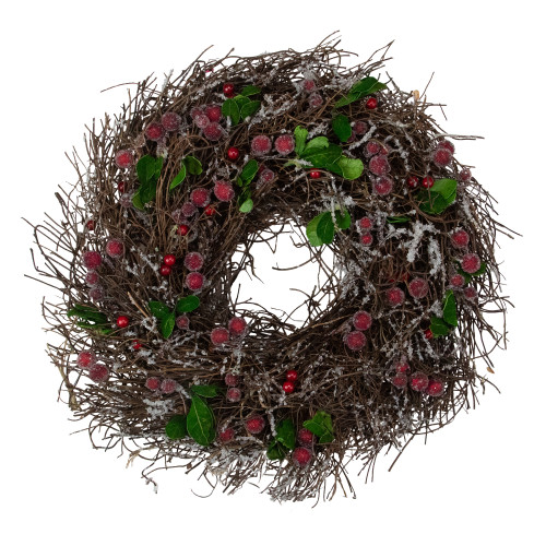 Frosted Brown Twig with Leaves and Berries Artificial Christmas Wreath - 13-Inch, Unlit - IMAGE 1