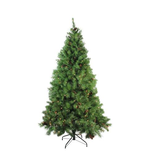 7.5' Pre-Lit Green Medium Pine Artificial Christmas Tree - Clear Lights - IMAGE 1
