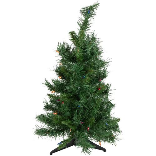 2' Pre-Lit Medium Royal Pine Artificial Christmas Tree - Multicolor Lights - IMAGE 1