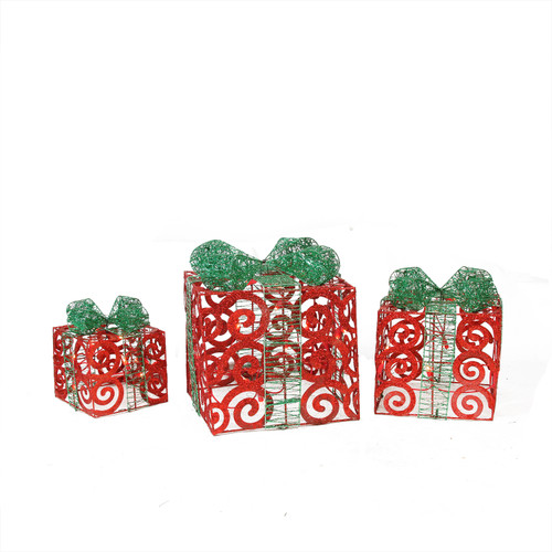 Set of 3 Lighted Sparkling Red Swirl Glitter Gift Boxes Outdoor Christmas Decorations - IMAGE 1