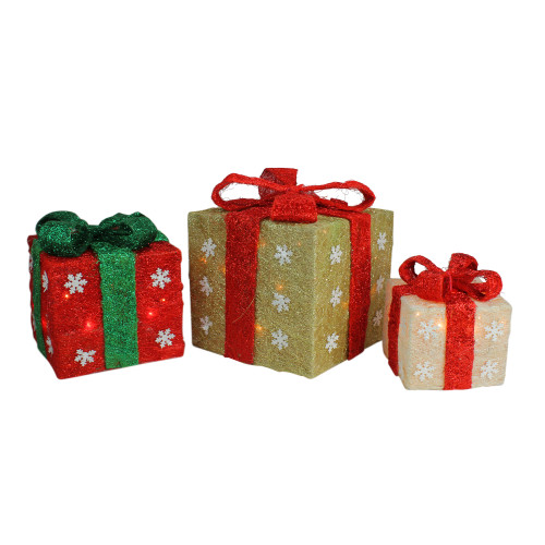 Set of 3 Lighted Gold, Green & Cream Sisal Gift Boxes Christmas Outdoor Decorations - IMAGE 1