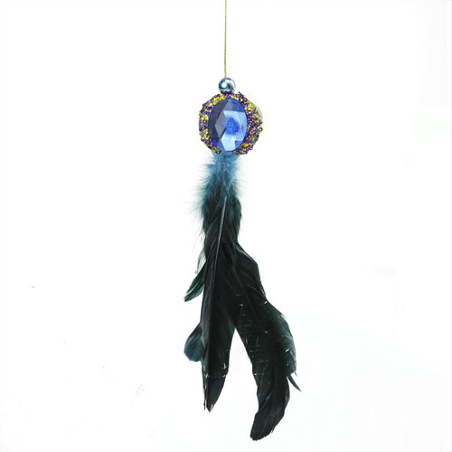 """10"""" Purple and Gold Regal Peacock with Jewel Hanging Tassel Christmas Ornament - IMAGE 1"""