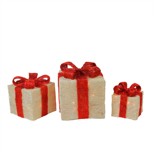 Set of 3 Lighted White and Red Sisal Gift Boxes Outdoor Christmas Decorations - IMAGE 1