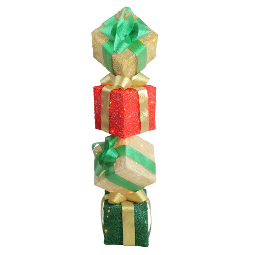 """45"""" Red and Green Lighted Sisal Tower Stacked Gift Boxes Outdoor Christmas Decor - IMAGE 1"""