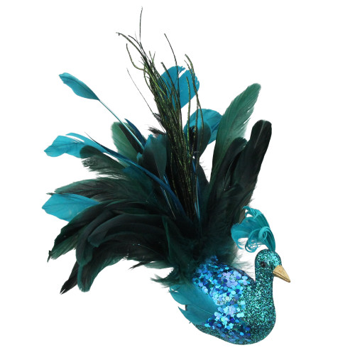"10"" Turquoise Blue and Green Peacock Clip-On Christmas Ornament - IMAGE 1"