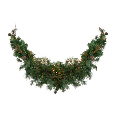 "72"" Pre-Lit Country Mixed Pine Artificial Christmas Swag - Clear Lights - IMAGE 1"
