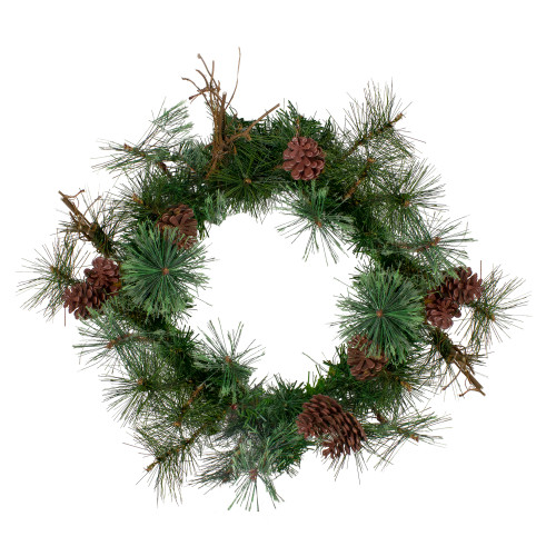 """24"""" Country Mixed Pine Artificial Christmas Wreath - Unlit - IMAGE 1"""