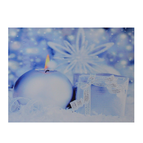 """LED Lighted Candle and Gift Wintry Scene Christmas Canvas Wall Art 12"""" x 15.75"""" - IMAGE 1"""