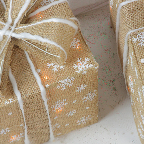 Set Of 3 Lighted Natural Rattan Amp Glitter Gift Boxes