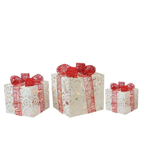 Set of 3 Lighted Sparkling White Swirl Glitter Gift Boxes Christmas Yard Art Decorations - IMAGE 1