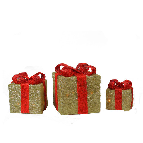 Set of 3 Lighted Sparkling Gold Sisal Gift Boxes Christmas Outdoor Decorations - IMAGE 1