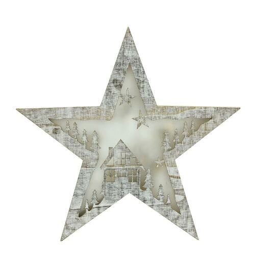 "11"" Silver Rustic LED Lighted Star Christmas Decor - IMAGE 1"
