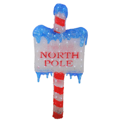 """33"""" Lighted Commercial Grade Acrylic """"NORTH POLE"""" Christmas Sign Display Decoration - IMAGE 1"""