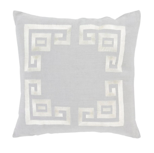 """20"""" Cool Gray and White Contemporary Decorative Throw Pillow - Down Filler - IMAGE 1"""