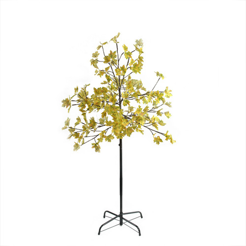5' Pre-Lit LED Lighted Fall Harvest Yellow Maple Leaf Artificial Tree - White Lights - IMAGE 1