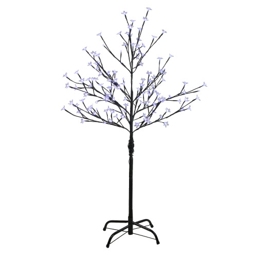4' Pre-Lit Artificial Cherry Blossom Flower Tree - Pure White LED Lights - IMAGE 1