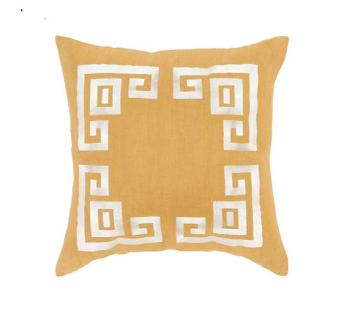 """20"""" Yellow and White Contemporary Square Throw Pillow - Down Filler - IMAGE 1"""