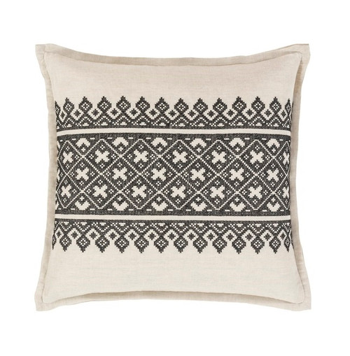 """18"""" Black and White Traditional Woven Decorative Throw Pillow - Down Filler - IMAGE 1"""