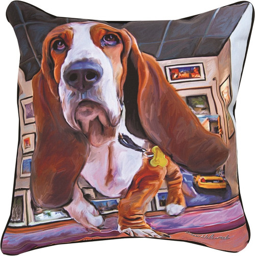 """18"""" Paws And Whiskers Bumping Along Basset Hound Printed Indoor/ Outdoor Decorative Pillow - IMAGE 1"""