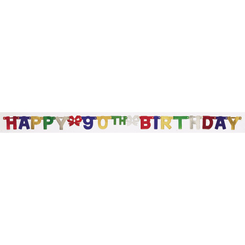 """Club Pack of 12 Vibrantly Colored Happy 90th Birthday Small Party Banners 75"""" - IMAGE 1"""