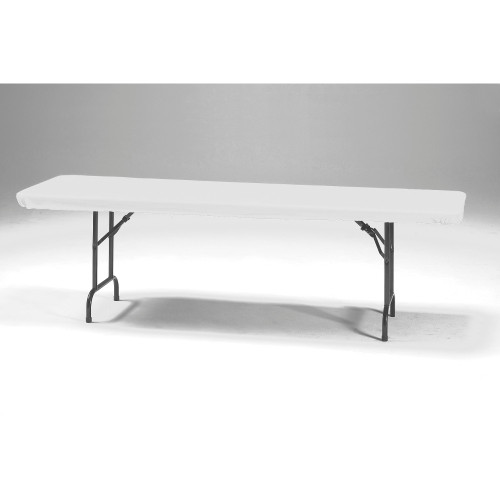 """Club Pack of 12 White Solid Stay Put Rectangular Disposable Plastic Picnic Party Table Covers 96"""" - IMAGE 1"""