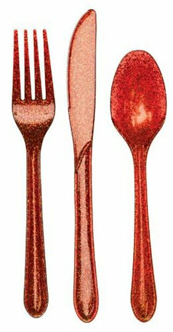 "Club Pack of 288 Red Glittered Heavy-Duty Knives and Spoons 9.5"" - IMAGE 1"